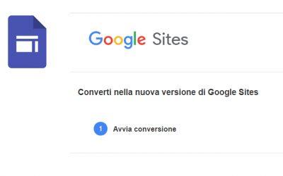 Come convertire un sito Google Site Classic nel nuovo formato